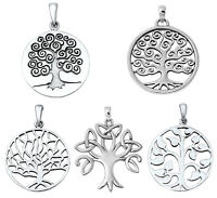 925 Sterling Silver TREE OF LIFE & TRINITY TREE PENDANT WITH CHAIN NECKLACE 18""