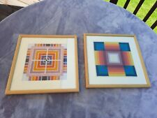 Vintage 1970s Tapestry Abstract Squares Pictures X2