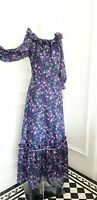 Ladies True Vtg 70's Retro Purple Floral Prairie Folk Long Maxi Sun Dress 12