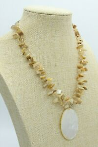 Mother of Pearl Beaded Necklace Neutral Beige Choker Oval Shell Pendant 16""