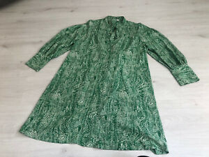 Topshop White & Green Abstract Pattern Tie Neck Shirt Dress - 16 - Gorgeous