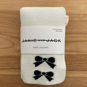 NWT JANIE AND JACK Black & White Bow Tights Size 0-6 Months