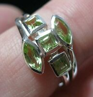 Beautiful Sterling Solid SILVER Real Peridot Gem Stone RING Jewellery Size O 7