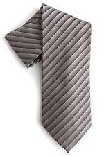 Valerio Garati Mens Tie 100% Silk Gray Striped Handmade Classic Length Necktie