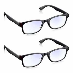 Reading Glasses 2 Pack Blue Light Blocking Glasses for Gaming & PC Read Optics
