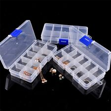 10 Slots Plastic Adjustable Jewelry Storage Box Case Craft Organizer Beads Boxes