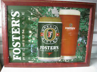 Big Vintage Foster's Premium Ale Beer Bar Sign Mirror