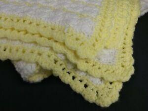 "Handmade Crochet Afghan Baby Boy/Girl Blanket 48""x40"" Unisex Yellow/White Soft"
