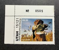 WTDstamps - 1994 UTAH Plate# - State Duck Stamp - Mint OG NH