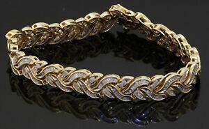 Heavy 14K yellow gold 6.80CT diamond cluster fancy link bracelet