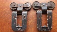 Two Antique Vintage Iron Garage Door Rollers or Hangers & Brackets