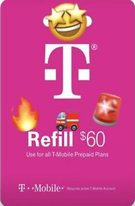 T-Mobile $60 Prepaid Refill Card, Monthly Plan's(SAME DAY DIRECT REFILL )
