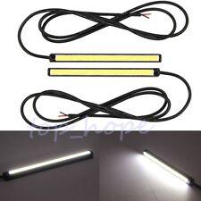 2× 12V Car COB LED Chip Daytime Running Light Lamp White Bar Strips Super Bright