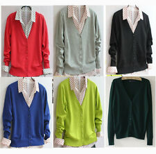 New Women Ladies Long Sleeve Button front V-Neck Cardigan Womens Top Sweater