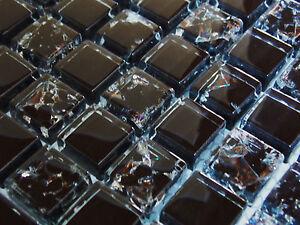 Crush 8mm Glasmosaik Effekt Mosaik Fliesen Schwarz Gebrochenes Glas   1qm