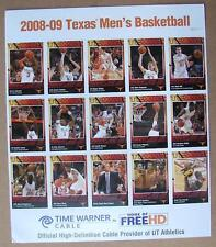 2008-2009 TEXAS LONGHORNS BASKETBALL Uncut Card Sheet/ A.J. Abrams