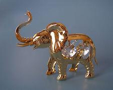 "SWAROVSKI CRYSTAL ELEMENTS  ""ELEPHANT""  FIGURINE - ORNAMENT 24KT GOLD PLATDED"