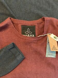 $79 prAna Crew Neck XL Block Sweater Umber New 100% Oranic Cotton Fair Trade