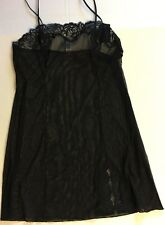 WACOAL SHEER ENOUGH Lace Black Mesh Nightgown L Chemise Babydoll new NWT