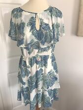 Warehouse Layered Summer Dress With Blue Flower Pattern, Size 10!