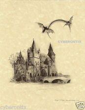 Gothic Art Print Draculas Castle Bats on Parchment Paper Fantasy Artist