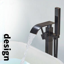 Floor Mounted Free Standing Bathtub Faucet With Hand Shower Tub Filler Mixer Tap