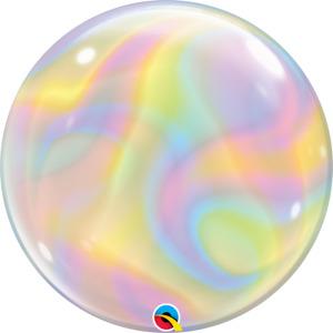 """Iridescent Swirl"" Designed Bubble Balloon- 22""/ 56 CM."