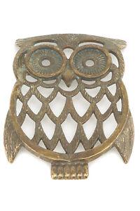 Trivet Brass Antiqued Shaped Owl Centerpiece Gift Idea Cooking
