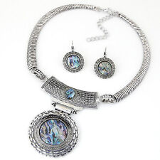 D30 Round Abalone Shell Antiqued Textured Silver Necklace & Earring Set