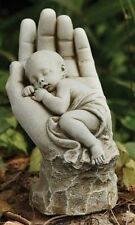 "Sleeping Baby in Hands Garden Statue, 11"" Tall, Joseph's Studio by Roman 66711"