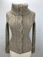Anthropologie Sleeping on Snow Wool Cowl Neck Cable Knit Cardigan Sweater XS A4