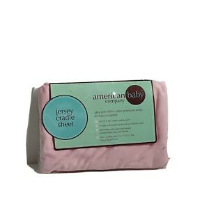 """New 100% Cotton Jersey Pink Fitted Cradle Sheet 18""""x 36""""/4""""Gusset Changing Table"""