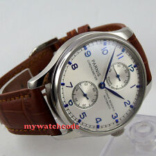 43mm parnis silver dial power reserve seagull automatic movement mens watch P99