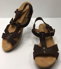 Clarks Size 6 M Sandals Shoes Womens Brown T-Strap Cork Wedge Leather