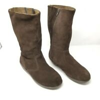 Cougar Virtuous Boots Mid Calf Brown Suede Wedge Side Zipper Women's Size 8 EUC
