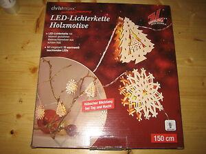 LED Lichterkette mit 10 Stück Holzmotive 150 cm  lang (christmaxx)