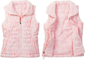 The North Face Girl Reversible Mossbud Swirl Insulated Vest Coy Pink L / 14 - 16