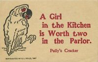 Arts Crafts Polly Cracker Parrot saying 1907 Postcard 1094