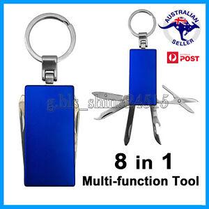8-in-1 Multi Tool Key Ring Stainless Steel Knife Nail File Screwdriver Scissors
