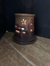Glowing Farm Scene Windmill Tealight Pottery Candle Holder Tea Light Fairy Lamp
