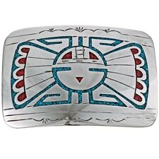Inlaid Silver Belt Buckle Turquoise Coral Hopi Sunface