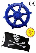 Blu di grandi dimensioni Bambini Arrampicata Telaio Pirata Ruota + GRATIS Bandiera dei pirati, Play House Den
