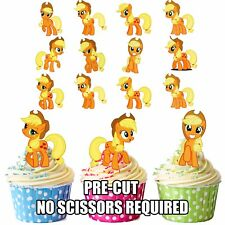 Precut MY LITTLE PONY APPLE JACK 12 Decorazioni per Cupcake Commestibili Decorazioni Compleanno