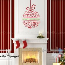 Merry Christmas Ball Flower Wall Decals Removable Window Stickers Decor DIY Art