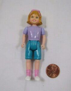 Playskool Dollhouse BLONDE GIRL DAUGHTER in Purple Shirt 1994 Hair Bow Rare