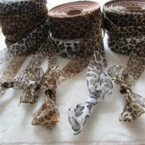Satin Edge Leopard Print Sheer Organza Single Face Ribbons Home Handmade Crafts