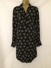 M&S Autograph Size 10 Patterned Shirt Dress in Black 4411