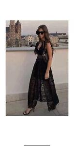 ZARA BLACK LONG PLEATED LACE DRESS SIZE S BNWT