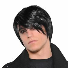 Adult Mens Pop Punk Fringe Goth Rock Black Hair Wig Fancy Dress Accessory MCR