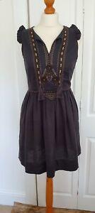 Comptoir Des Cotonniers Linen Embroidered Dress Size M
